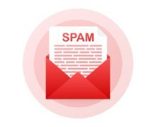 No spam. Spam Email Warning. Concept of virus, piracy, hacking and security. Envelope with spam. Vector illustration.